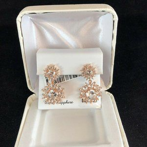 Rose Gold White Sapphire drop cluster earrings$200